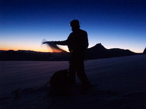 sunrise during acsent to Mont Blanc