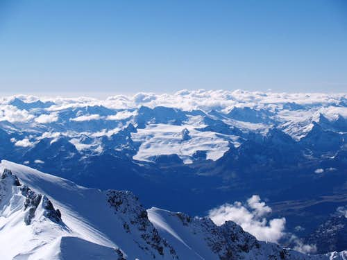 Mont Blanc, view from the summit