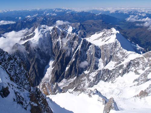 Mont Blanc, view from the descent via Bosses Ridge