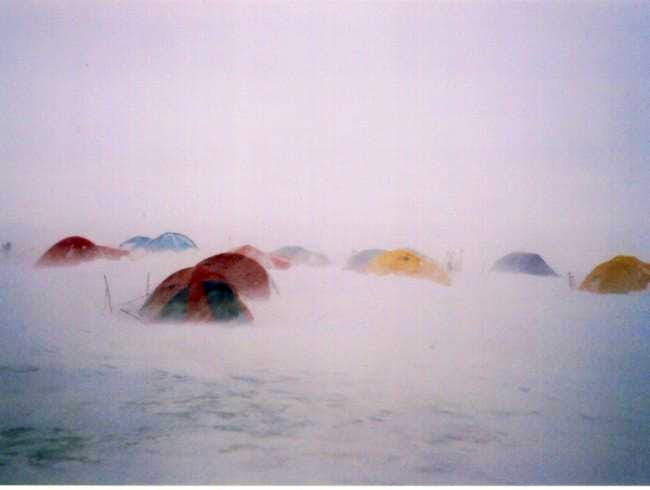 Camp one at 6400m in a storm....