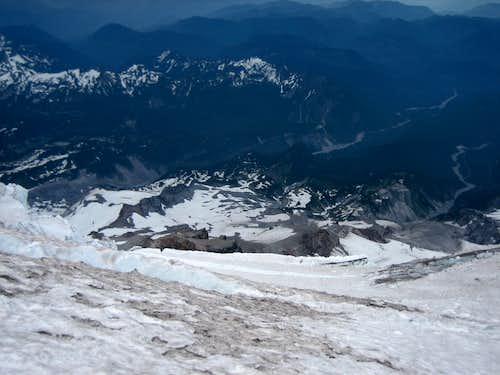 Looking down - Kautz Glacier