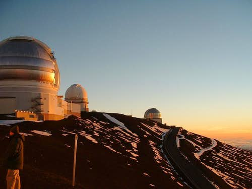 Mauna Kea: Observatory Telescopes in fading light