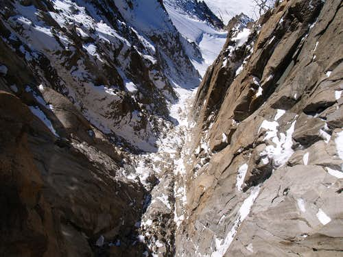 looking down from Aiguille du Midi