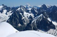Climbers below the Aiguille du Midi