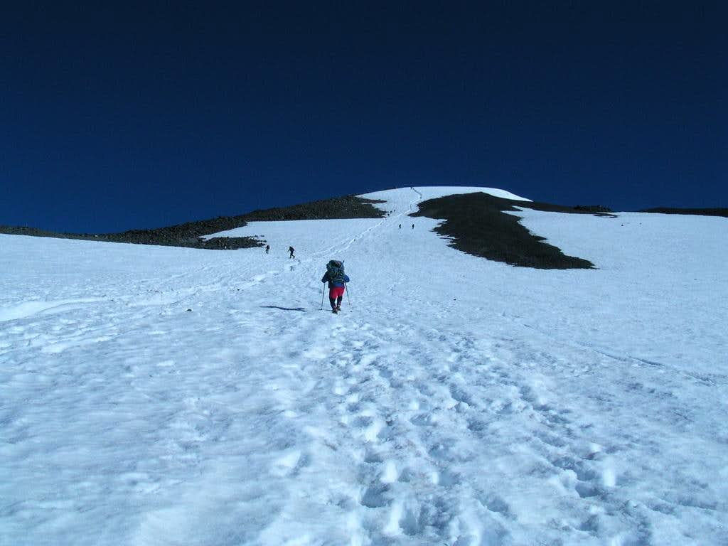 Approaching the false summit on Mount Adams