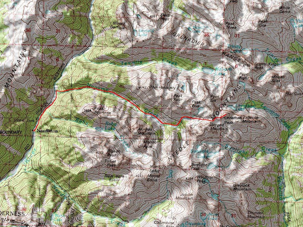 Leviathan Peak's Southwest Ridge Noname Creek Approach Route