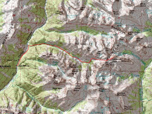 Leviathan Peak\'s Southwest Ridge Noname Creek Approach Route