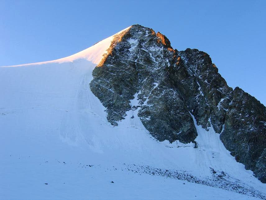 View of Piz Morteratsch from the Northwest at sunrise