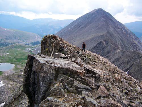 Near Fletcher Mountain summit, Quandary Peak in background