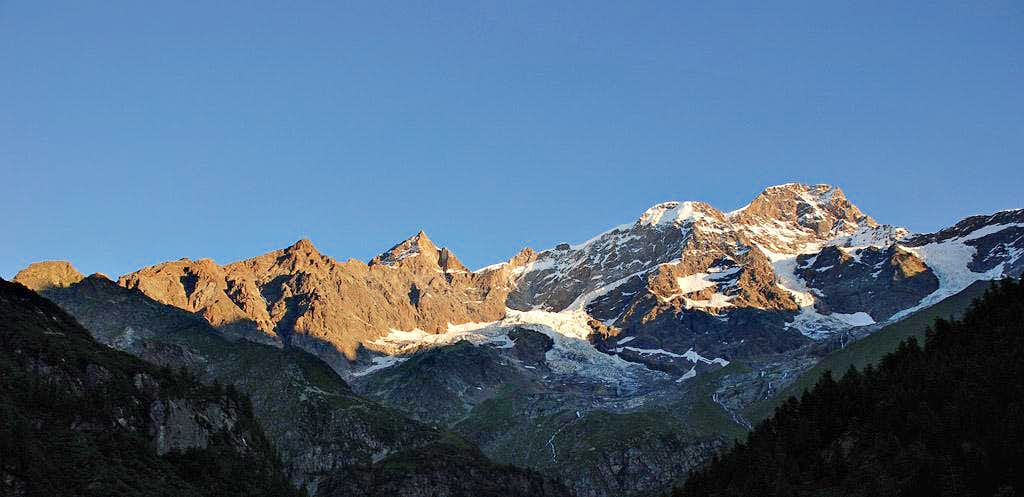 Early morning over Monte Rosa south face