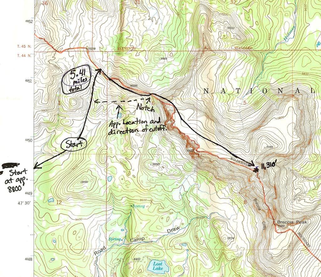 Buffalo Fork Peak-- Route Map