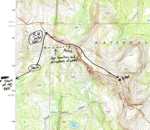 Buffalo Fork Peak-- Route Map