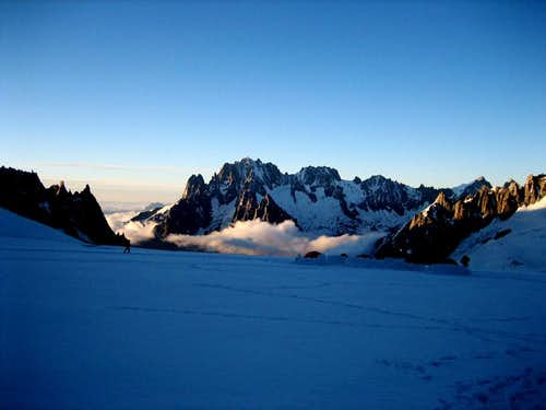 dawn on the Glacier du Geant