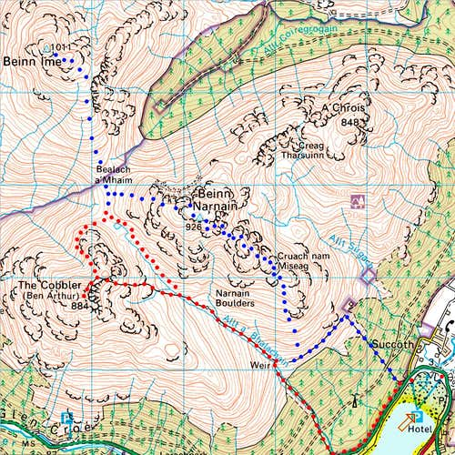 Ben Arthur + Bein Ime and Narnain Map