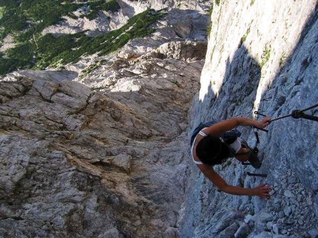 Climbing second passage of Velika baba