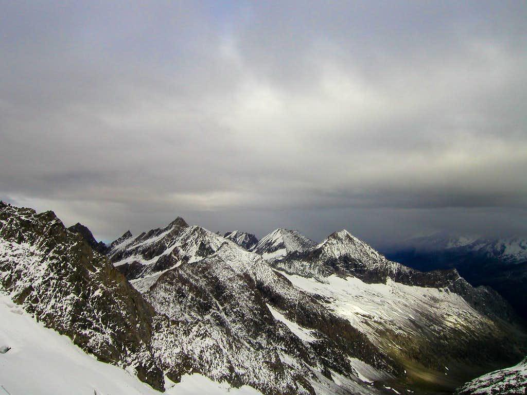 View from Rötkees glacier to Zillertaler Alps.