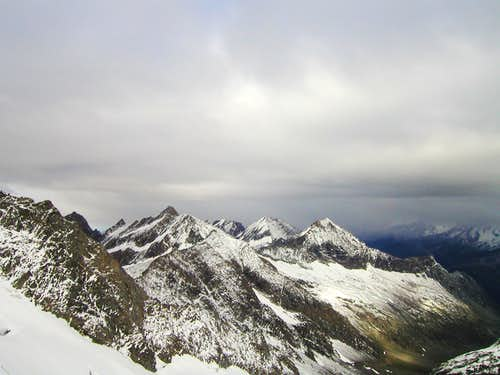 View from Rötkees glacier to Zillertaler Alps.