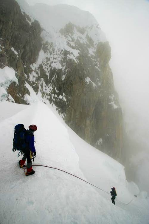 Descending from Alpamayo Col