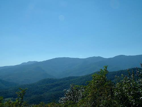 Mount Mitchell (the rounded peak -center), Mount Craig & Big Tom (twin peaks to the right) and Balsam Cone (far right)