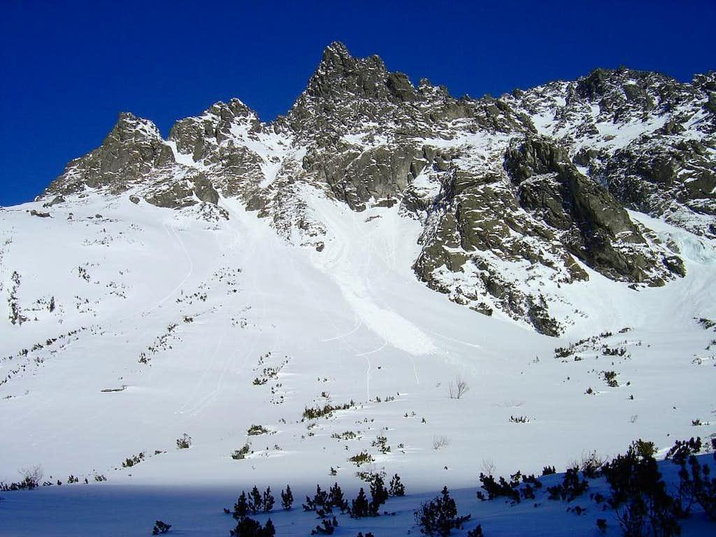 Signs of avalanche on Popradský hreben