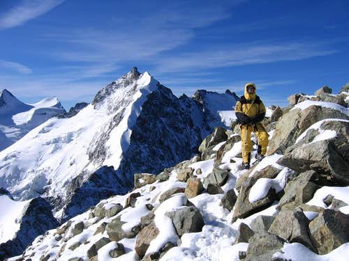 On the summit of Piz Morteratsch