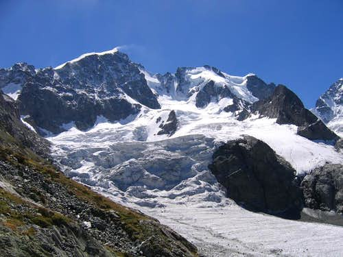 Piz Bernina and Piz Scerscen from the North