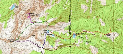 Topo of Trapper Routes