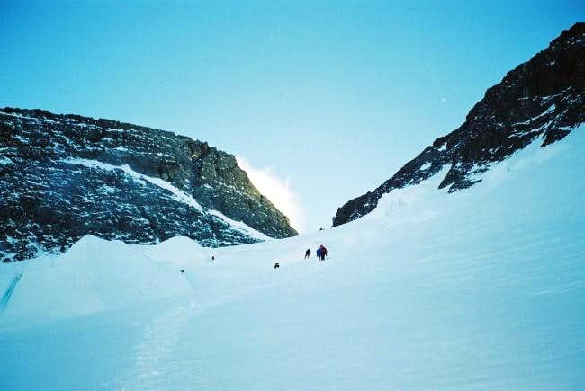 Climbers heading through the...