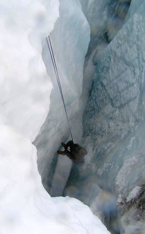 Hanging Inside The Crevasse