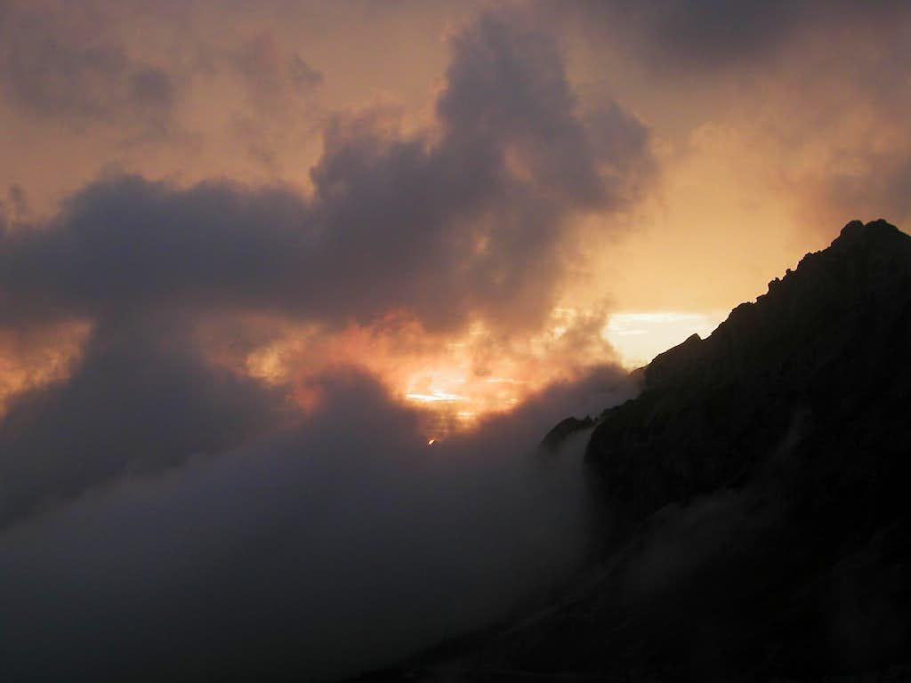 Sunset from Mali vrh, 1991m. The black mountain is Skala, 2133m.