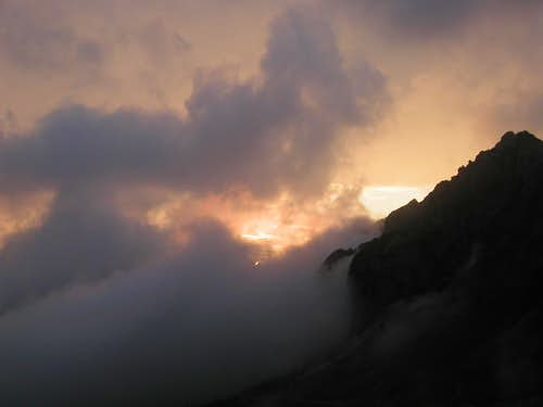 Sunset from Mali vrh, 1991m. The black mountain is Skala, 2133m.