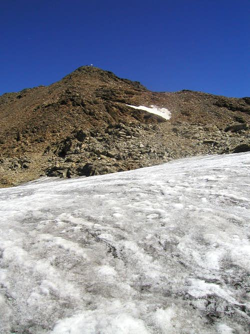 View from the glacier to the summit of Petzeck, 3283m