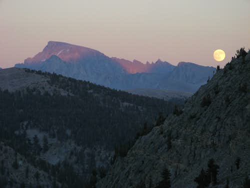 Full Moon and Alpenglow on Mt. Whitney