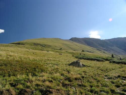 The grassy ridgeline to ascend