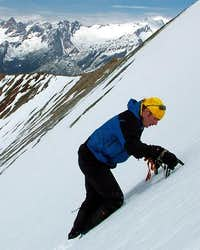 Practice snow climb near Grosser Muntanitz