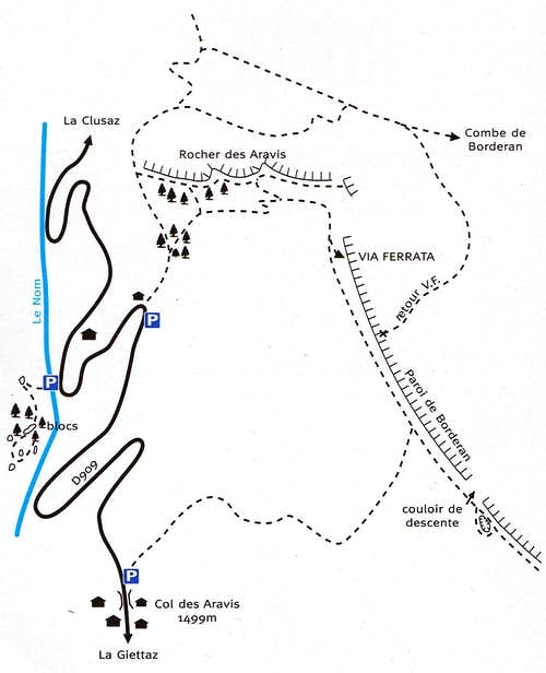 Access map to Rocher des Aravis