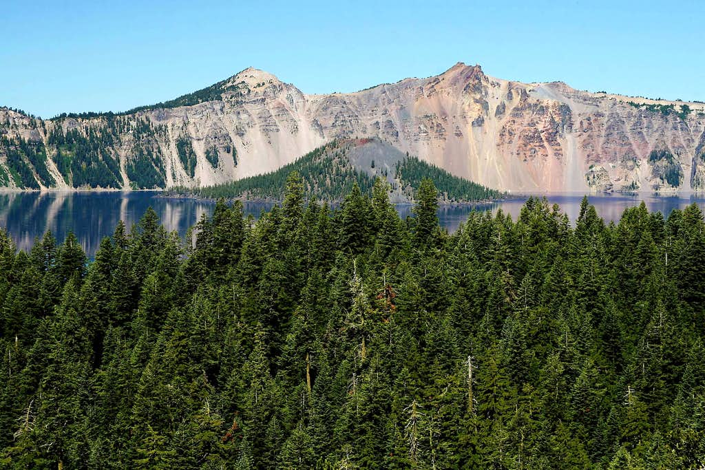 Wizard Island Framed by The Watchman and Hillman Peak