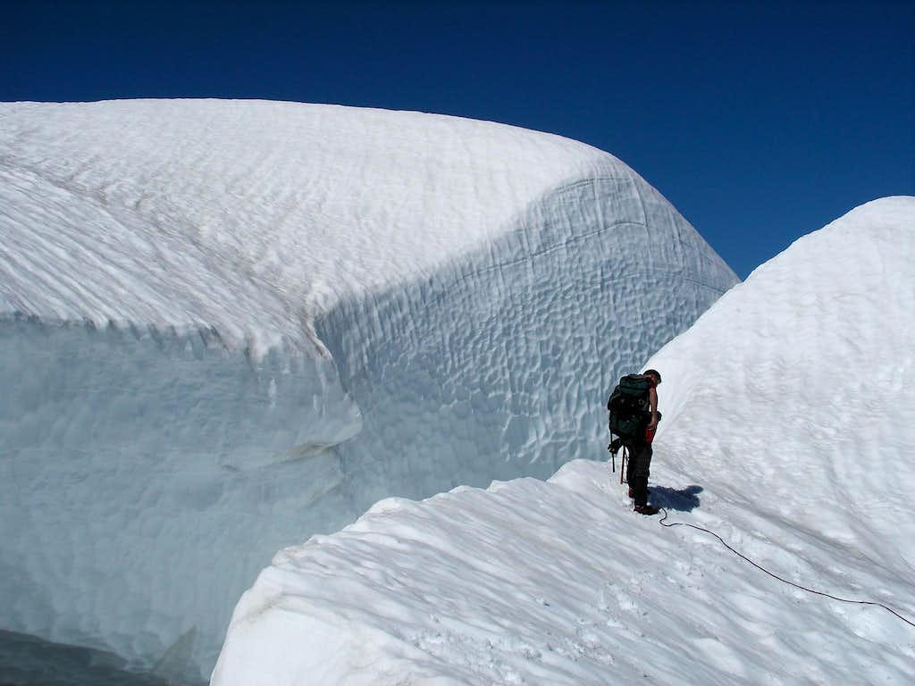 Bergschrund near summit