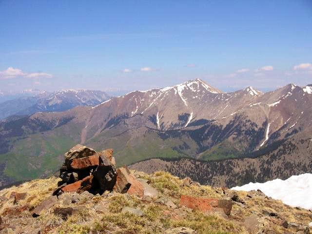 Mount Owen's summit cairn and...