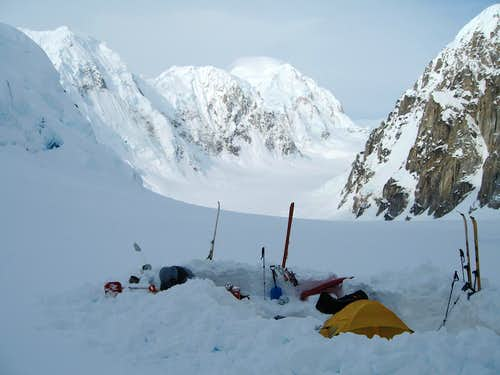base camp on the East Fork Tokositna Glacier, Alaska