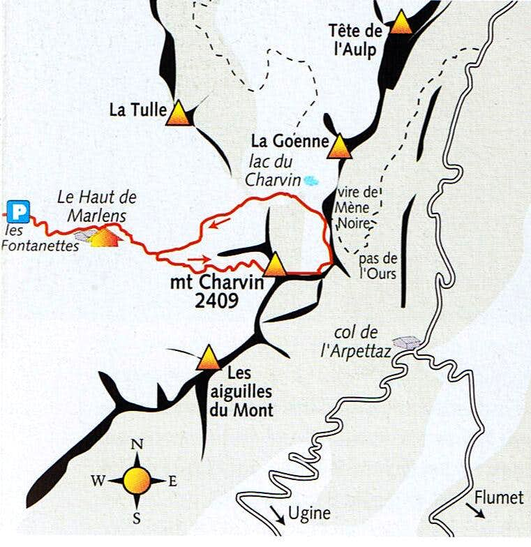 Access map to Mont Charvin