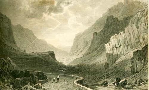 Engraving of the Pass of Llanberis circa 1830