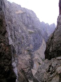 Almost 800 meters high north face of Spik nad Nosom / Foronon del Buinz, 2531m.