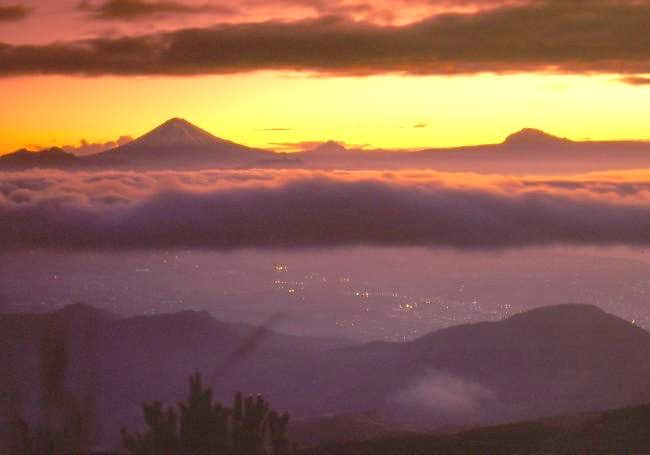 A surreal sunrise above Quito...