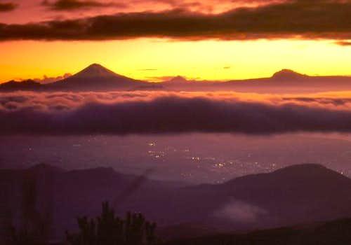 A surreal sunrise above Quito...