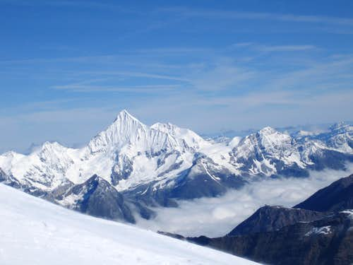 Weisshorn from ascent to Lyskamm