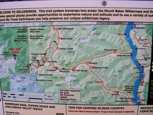Map at Hannegan Pass Trail