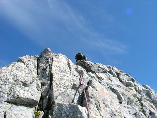 Nick leading last pitch, near summit