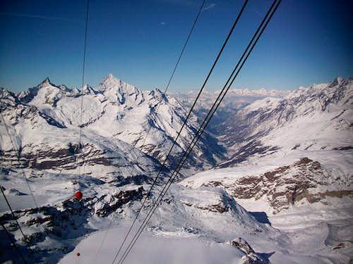 Zermatt and Pennine Alps over wires