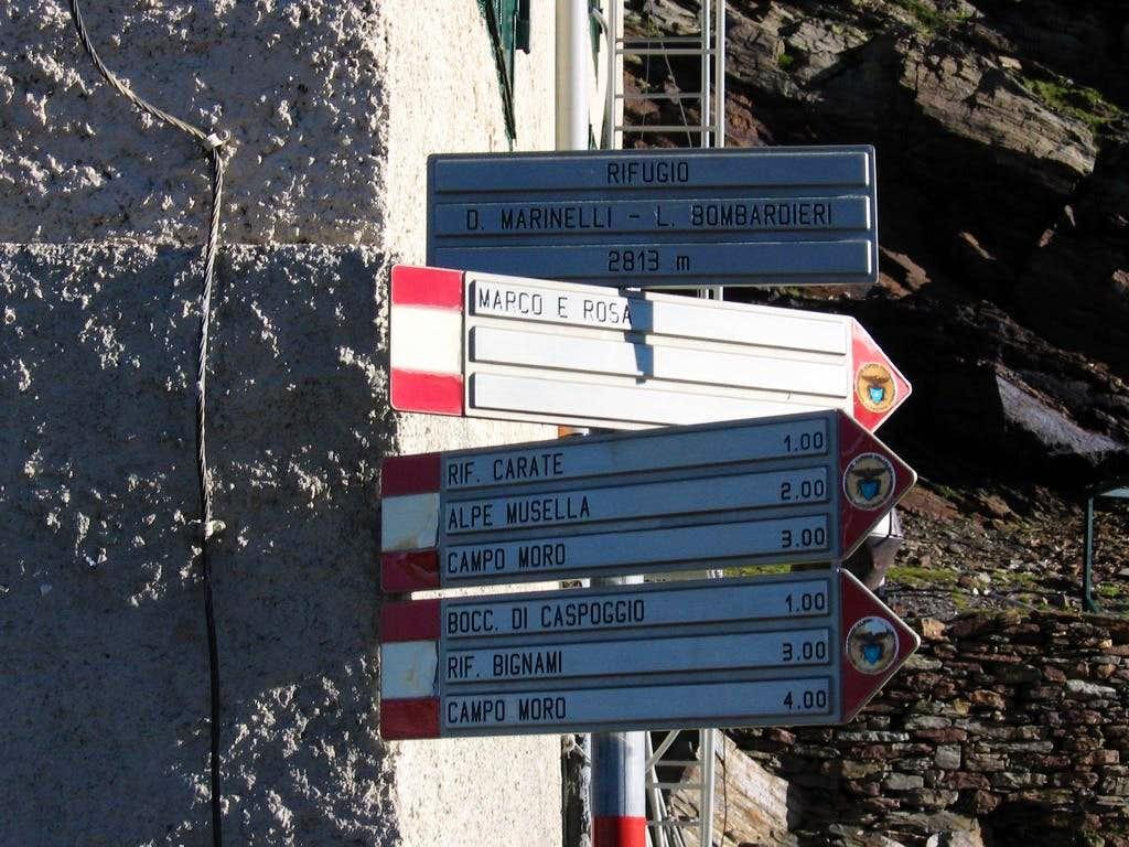 Signs at Marimelli - Bombardieri Rifugio